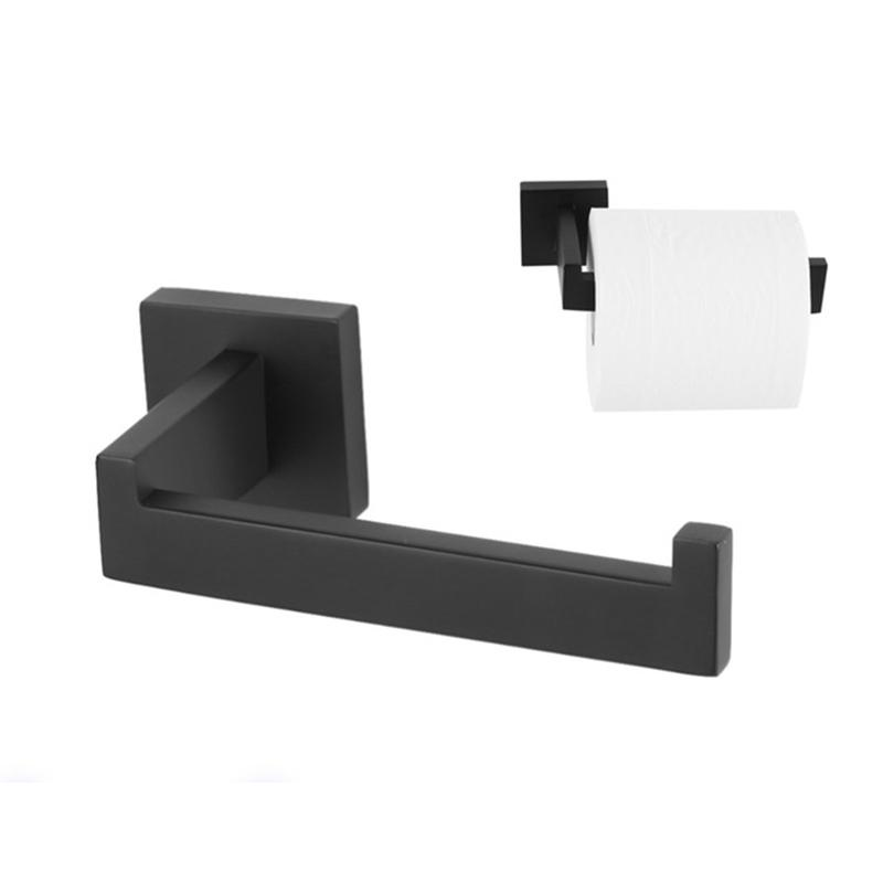 Fdit Single Pipe Wall Mounted Toilet Roll Paper Holder Shelf Rack Roller Bathroom Kitchen Toilet Tissue Roll Hanger Black T190708