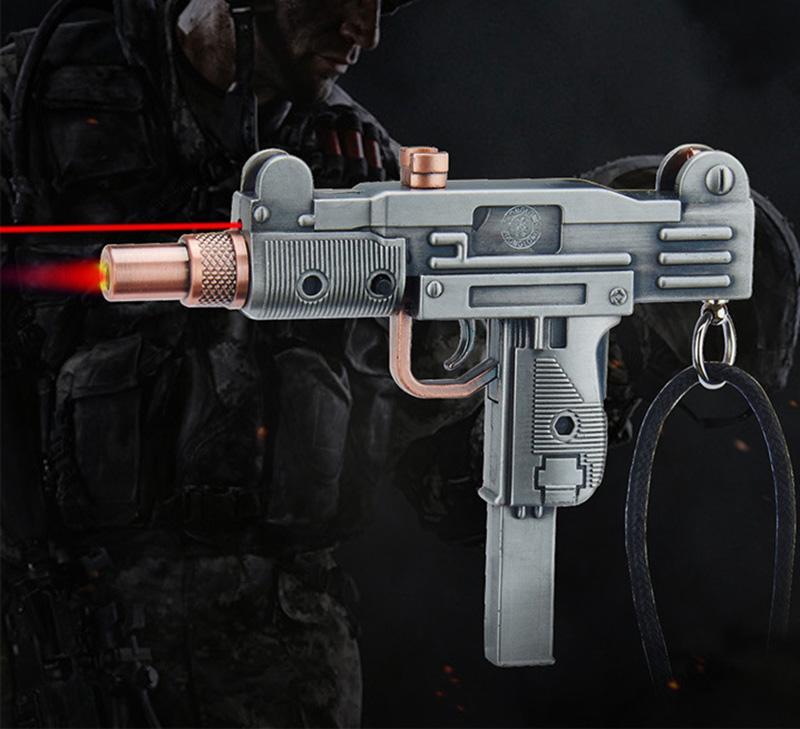 Pistol Gun shape cigarette Lighter submachine gun machine carbine Metal Windproof jet torch gift display model mini gun like lighter laser