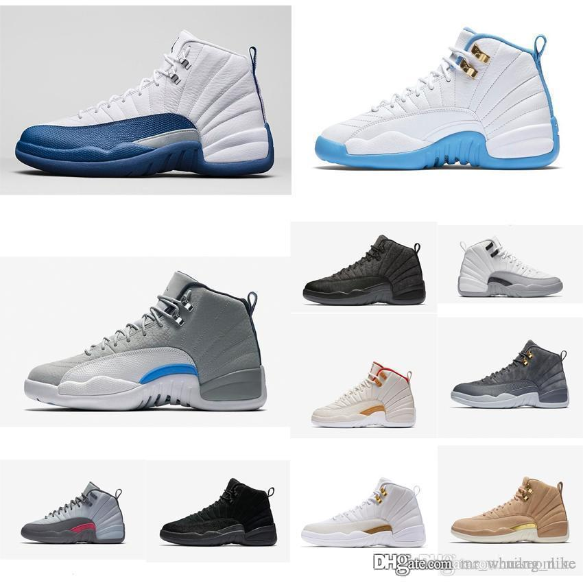 low priced b6112 d6ddc Cheap Women Jumpman 12 XII basketball shoes 12s white french blue wool OVO  CNY Boys Girls Youth Kids air flights j12 sneakers boots for sale