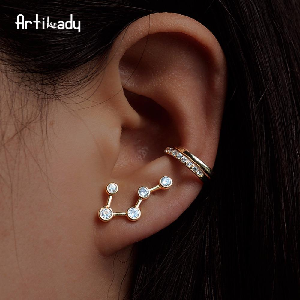 Artilady ear cuff gold color ear climber stud earring for women constellation jewelry gift