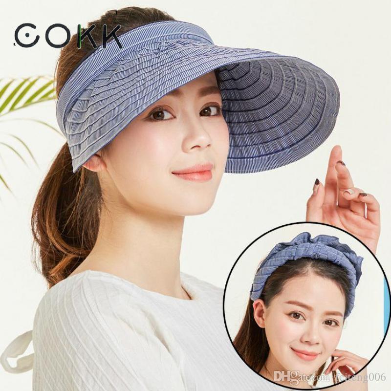 e42e604aefe35 2019 COKK Chapeau Femme Summer Hats For Women Sun Visor Cap Beach Hat  Ladies Sun Hat Female Sports Headband Hairband Suncreen Visor  47524 From  Feiteng006