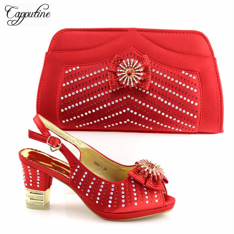 0f25ea033ae Hot Artist High Quality African Wome Red Shoes And Bag Set Decorated With  Rhinestone Italian Shoes With Bag Set Tx-5681