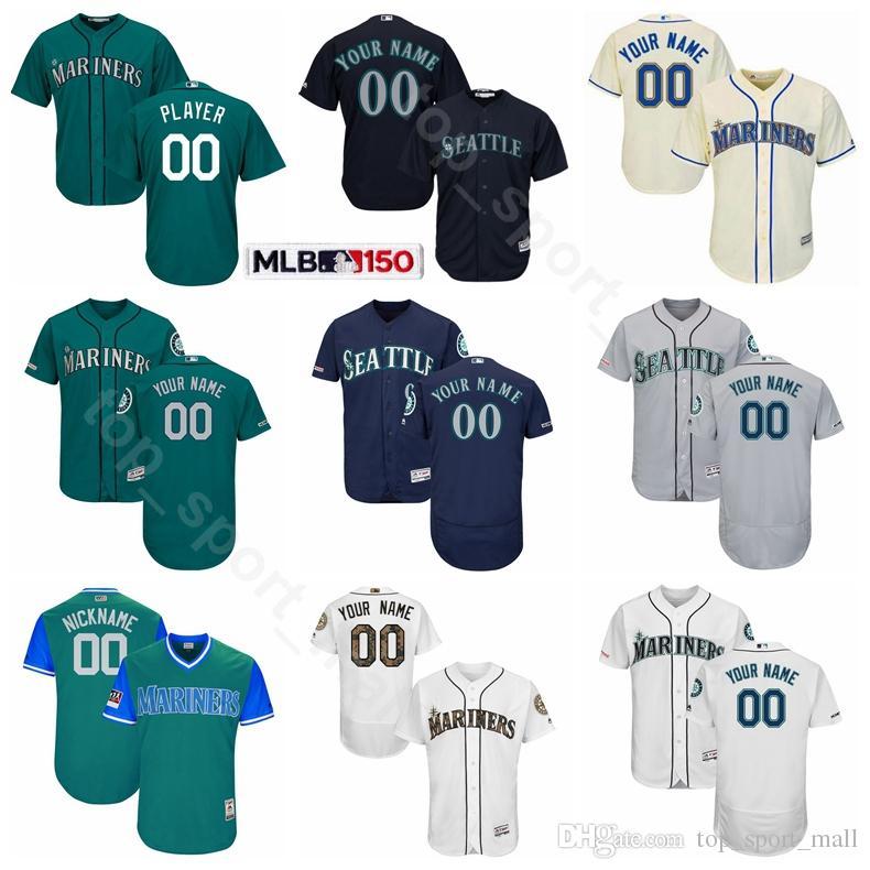 best service a450f 8b8cd Seattle Baseball Mariners Flexbase 17 Mitch Haniger Jersey 16 Domingo  Santana 27 Ryon Healy 9 Dee Gordon 1 Gordon Beckham 32 Jay Bruce
