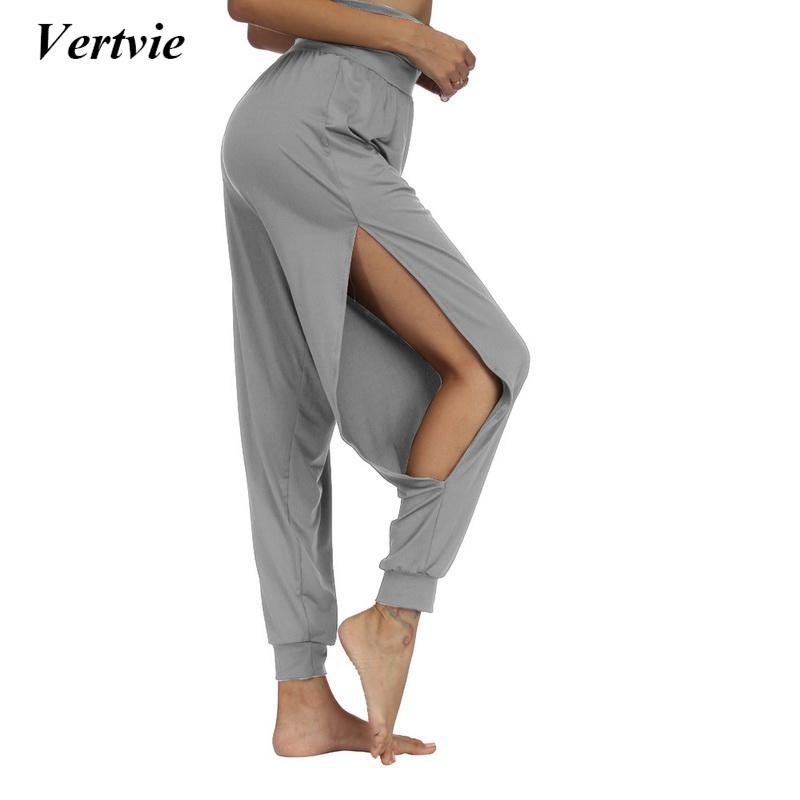 6a8742c093bd1 2019 Vertvie Women New Fitness Yoga Pants Quick Drying Sports Pant Women'S  Soft Side Slit Wide Leg Solid Elastic Waistband Yoga Pants From Capsicum,  ...