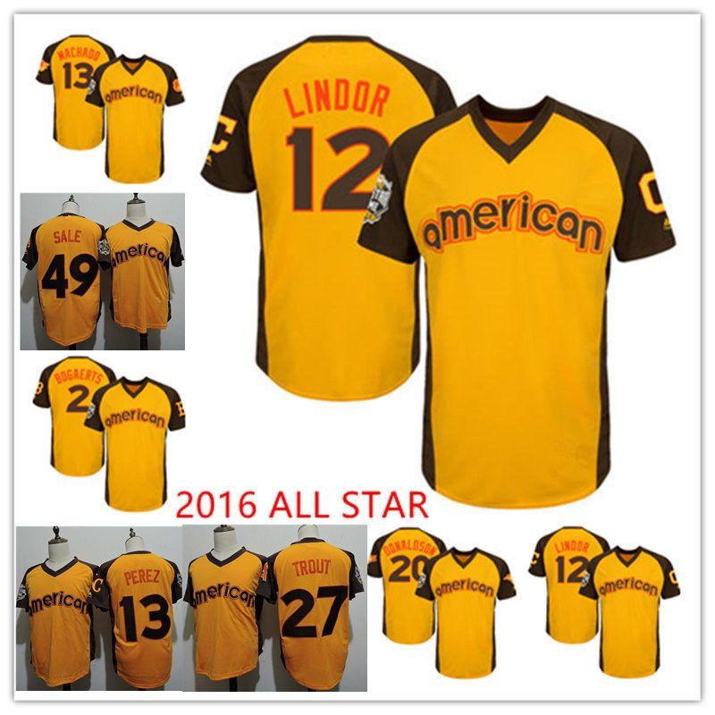 official photos 6b35e be80d Mens Gold 2016 All-Star #13 Manny Machado 49 Chris Sale Jersey #13 Salvador  Perez #2 Xander Bogaerts 27 Mike Trout Jersey
