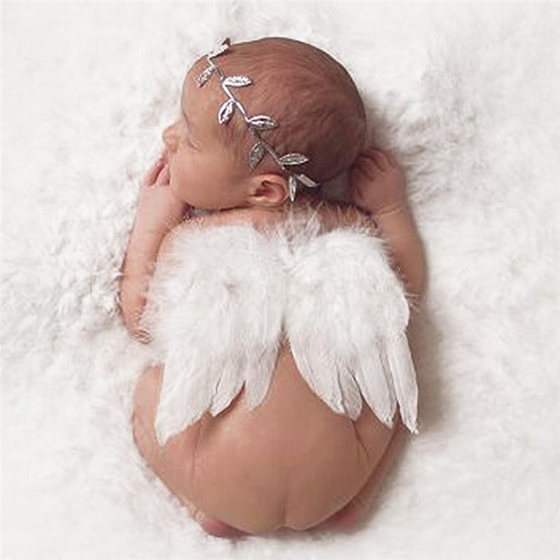 Newborn Baby Photography Props Infant Photography Costume Cute Baby Girl Feather Angle Wing +Headband Baby Accessories Photo Props 0-6M B11