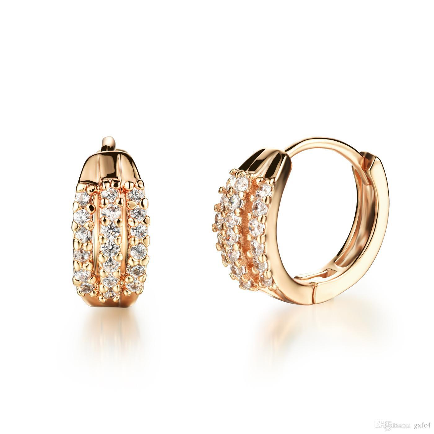 aa986a97e6 New Arrival Fashion Jewelry Women's Accessories Gold Plated Micro Inlay CZ  Diamond Hoop Earrings Classic Gift for Girl KDE655