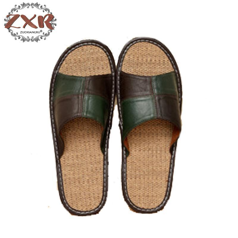 84797a855 Zuoxiangru Hot Sale Men Home Slippers Linen Home Slippers Indoor Bedroom  Sandals Couple Pu Leather Floor Flip Flops Moccasins For Women Loafers For  Women ...