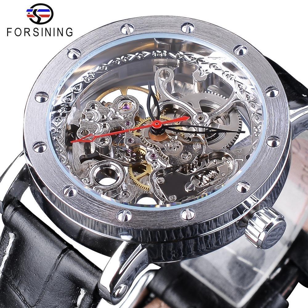 acb5d673529 Compre Forsining Prata Esqueleto Relógios De Pulso Vermelho Ponteiro Preto  Cinto De Couro Genuíno Automático Relógios Para Homens Relógio Transparente  ...