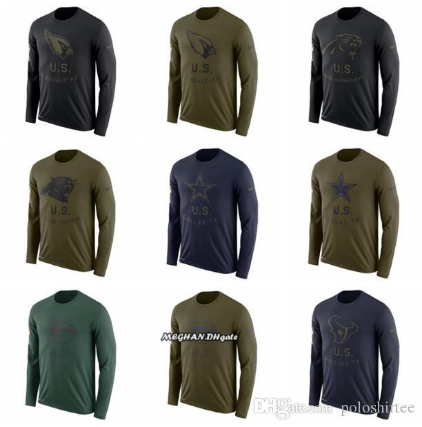 size 40 fce32 23e19 Men Women Youth Panthers Dallas Cowboys Green Bay Packers Texans Cardinals  Salute to Service Sideline Legend Performance Long Sleeve T-Shirt