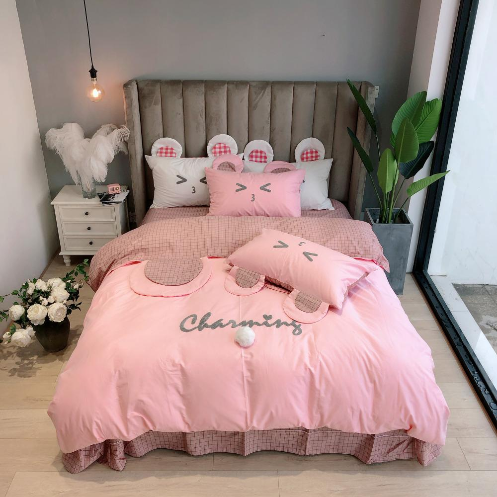 a956298447 Cute Bear Ears Pink Bedding Set Twin Queen King Size 100% Cotton Duvet  Cover Bed Sheets Pillowcase For Kids Teen Girl Or Adult Linen Sheets Grey  Bedding ...