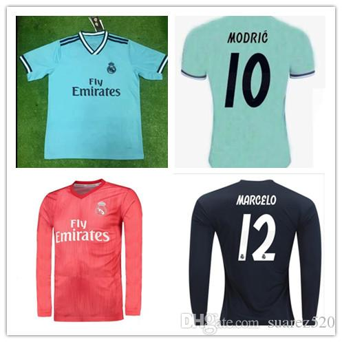edc454360b8 2019 New 2019 Real Madrid Home Soccer Jersey 18 19 Real Madrid Away Blue Soccer  Shirt 2018 MODRIC ASENSIO VINICIUS JR ISCO KROOS Football Uniform From ...