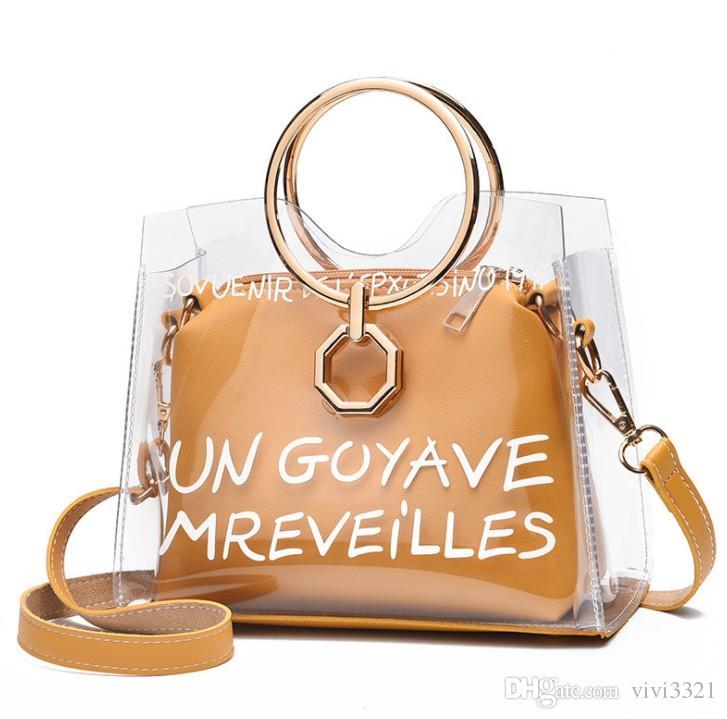 Luxury Satchel Handbag Women Bag Clear Jelly Transparent PVC Bag Candy  Color Tote Designer Purse Bolsa Female Crossbody D251 Cute Bags Purses For  Women From ... 0bac64e682a0b