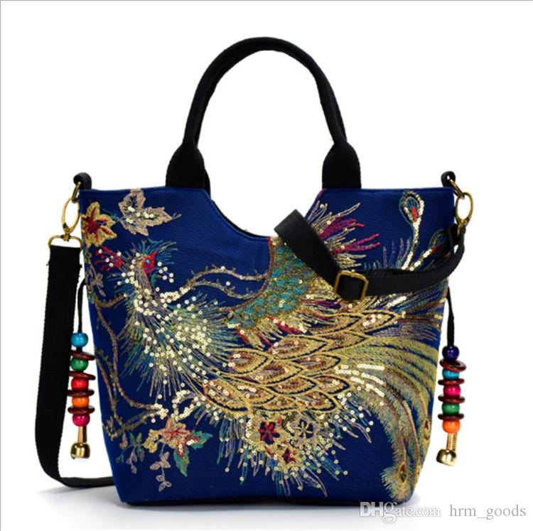 96fad4abd36 New Embroidery Canvas Peacock Embroidery Women Designer Handbags Fashion  Lady Shoulder Bags National Style Travel Bags High Quality Fashion Women  Shoulder ...
