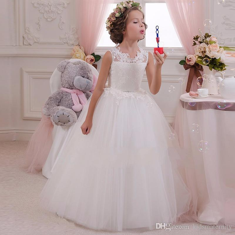Hot Retail High Quality Embroidery Flower Neck Elegant Girls Wedding Dress With Bow Rhinestone Belt Girls Party Long Dress