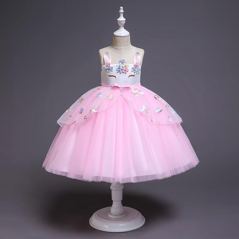 c83ce8869c13e Unicorn Dress 2019 New Children Princess Dresses Flower Girl Wedding  Unicornio Vestidos Summer Tutu Applique Girls Party Costume