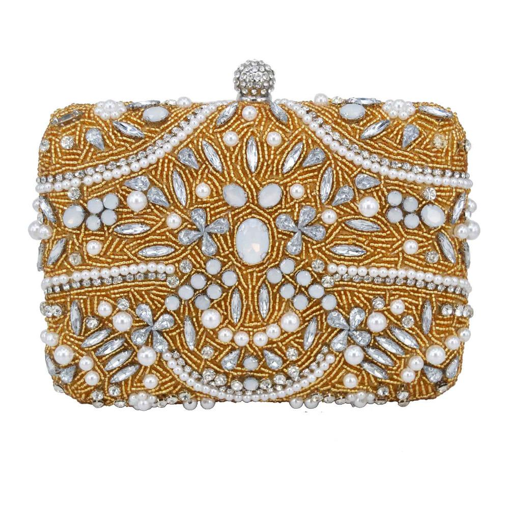 Gold Beaded Evening Bag Long Chain Handcraft Pearl Beads Clutch Bags Ladies Wedding  Bridal Handbags Purse Day Clutches 1882 Messenger Bags Crossbody Bags ... 4e14cacd7187