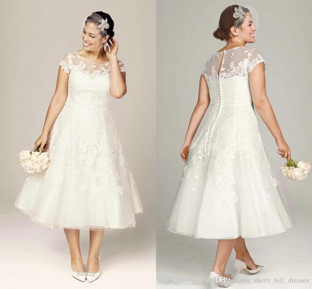 4c8d386c9d9 Discount Ivory Wedding Dresses Tea Length A Line Bridal Gowns Vintage Beach White  Wedding Dresses Wedding Gowns With Cap Sleeves And Appliques Wedding ...