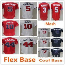 separation shoes e345d a4037 Atlanta 44 Hank Aaron 10 Chipper Jones Jersey Braves 5 Freddie Freeman 3  Dale Murphy Baseball Jerseys