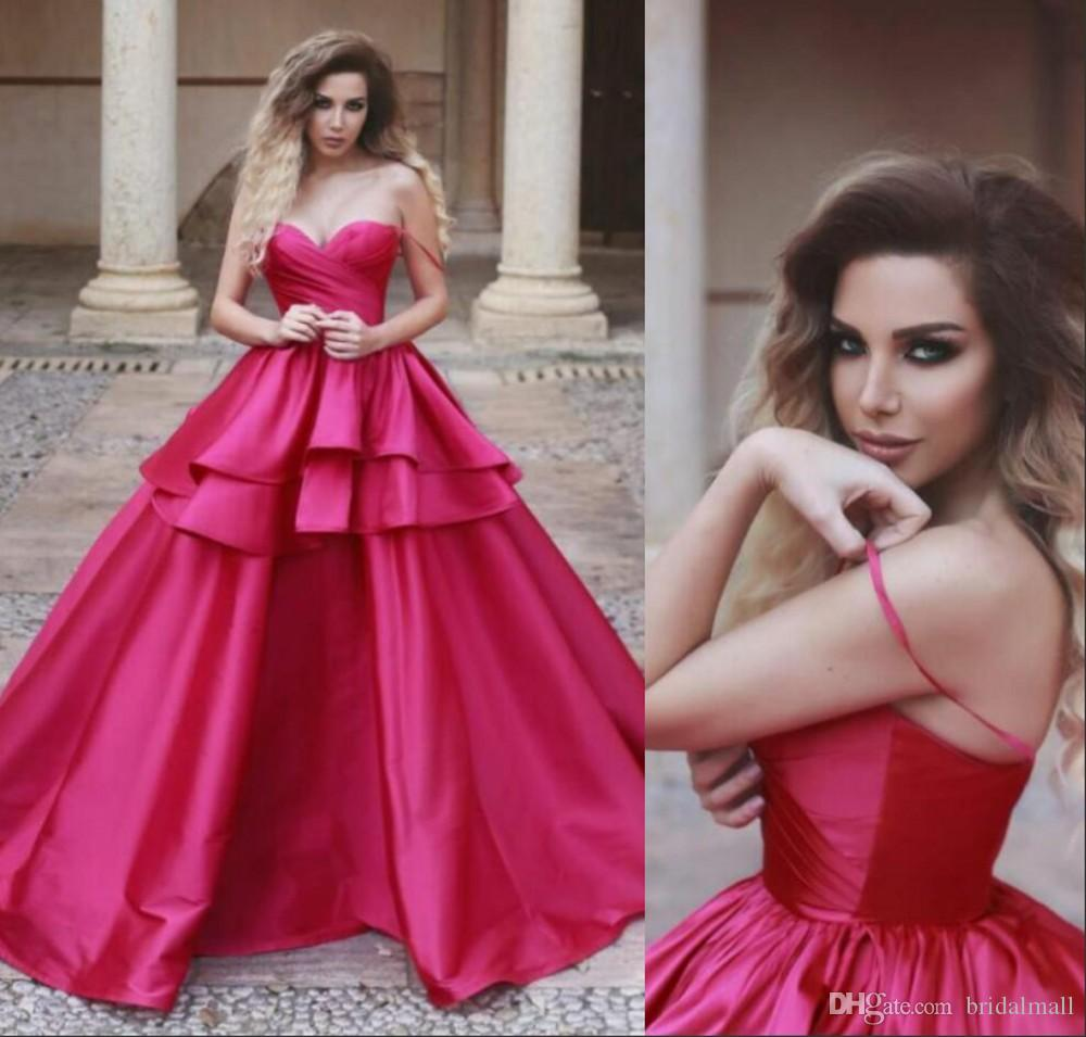 2e09c202b6 2019 Fuchsia Arabic Evening Dresses Spaghetti Straps Tiered Skirt  Quinceanera Ball Gowns Formal Party Gowns Special Occasion Long Prom Dress