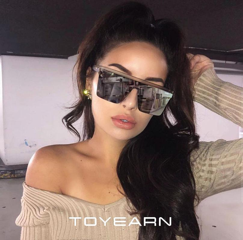 49baba3596e8 TOYEARN 2019 New Oversized Sunglasses Women Big Frame Square Sun Glasses  Female Men Vintage Flat Top Mirror Shades Gradient Eyew Native Sunglasses  Wholesale ...