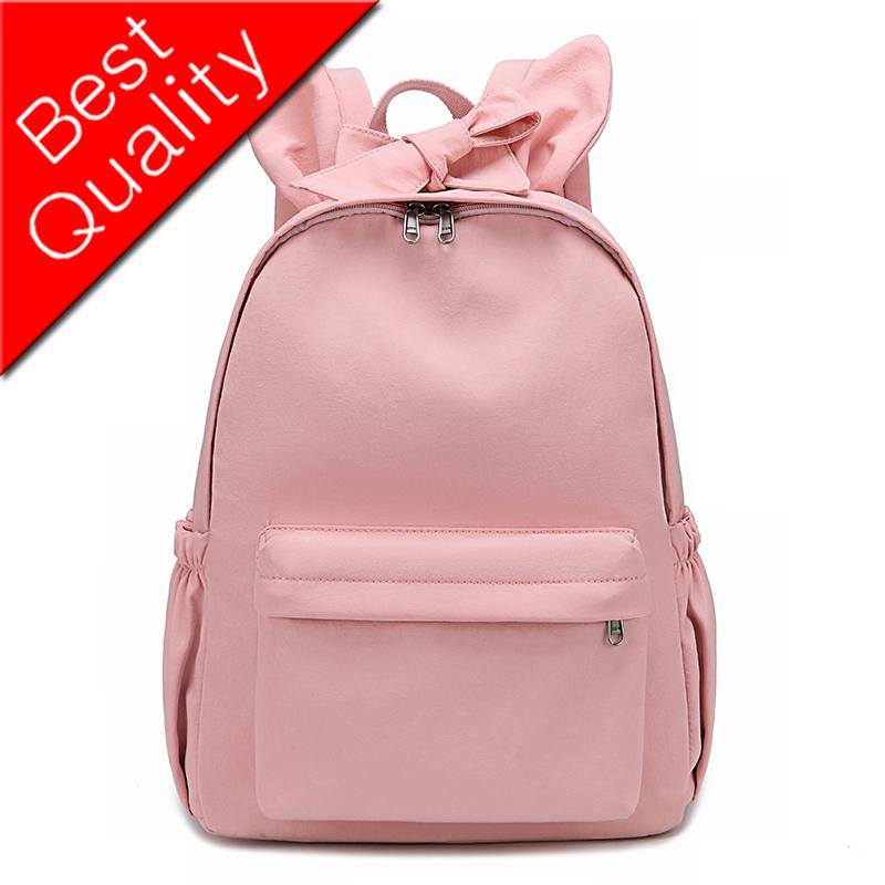 Lovely Rabbit Ear Waterproof Nylon Backpack High Quality Bow Women Backpack Female Korean style Schoolbag Travel Mochilas