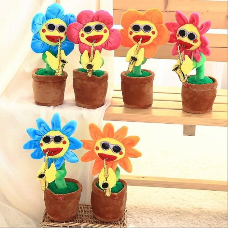 Electric Sunflowers Toy Bluetooth Connection Musical Enchanting simulation Flower Dancing Singing Plush Toys Stuffed bluetooth play GGA2621