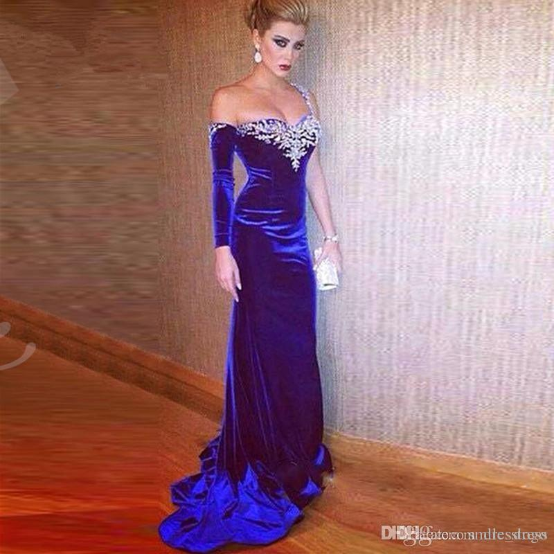 09edeae298 2019 Royal Blue Velvet Prom Dresses Mermaid One Shoulder Long Sleeves Open  Back With Beads Sexy Arabic Formal Evening Party Gowns MP291