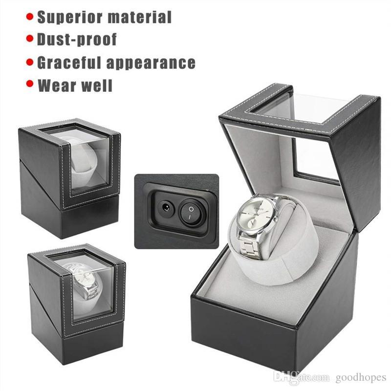 7a1e54e6ae39 Compre Rotación Automática Del Reloj Caja De Exhibición Del Motor Eléctrico  Único Reloj De La PU Winder Holder Caja De La Joyería Organizador De ...