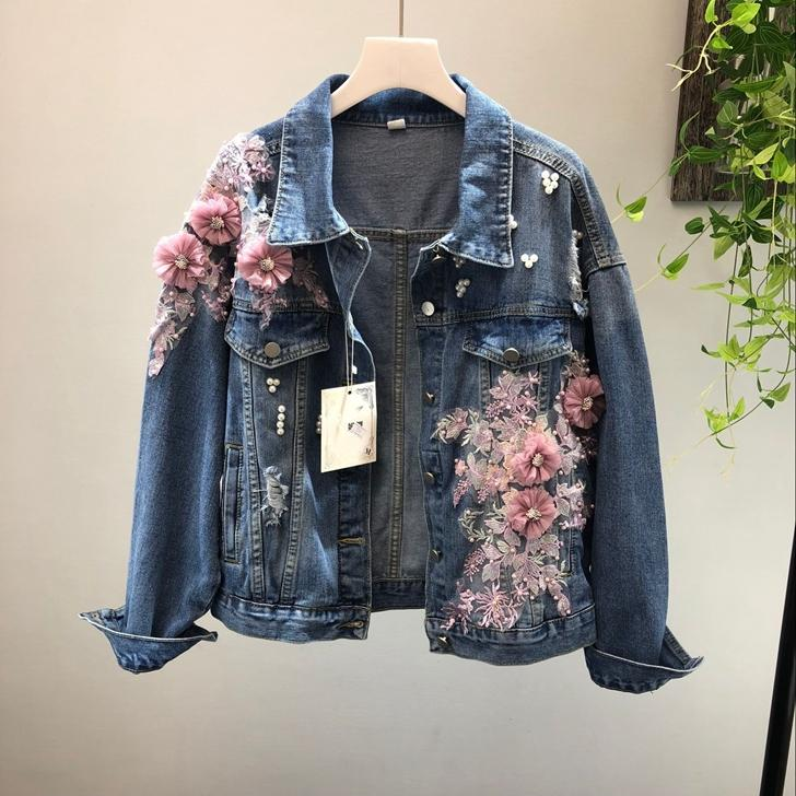 New denim jacket three-dimensional nailing bead pink embroidered hole cowboy short fashion jacket girl