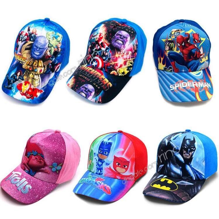 a334763ced731 2019 Kids Cartoon Hats Caps Children Marvel Avengers Princess Baseball Cap  Spiderman Sun Caps 28 Styles For Boys Girls From Rino
