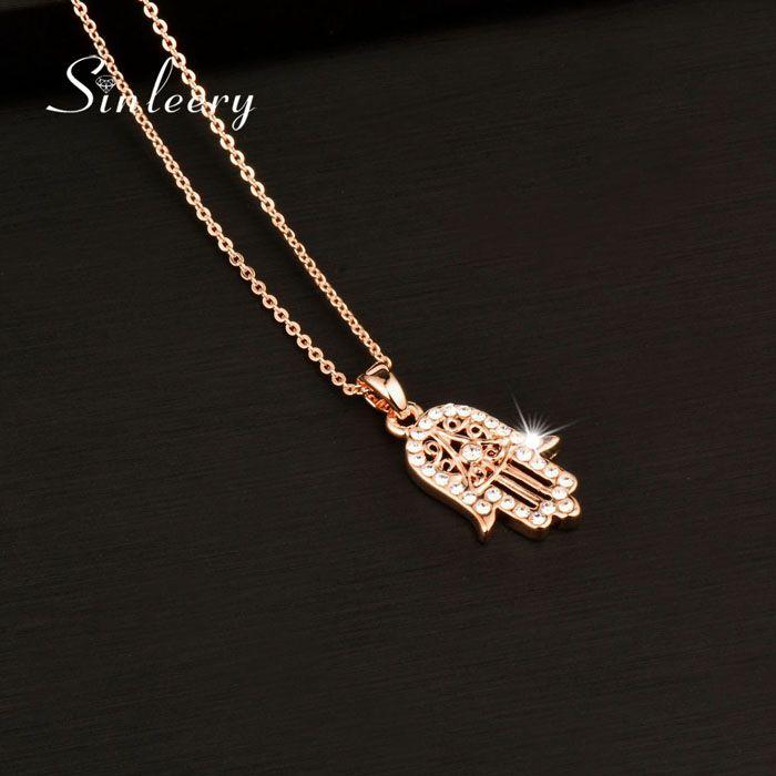 Kadınlar XL681 SSB Güzel Klasik El Fatima Hamsa Kolye Kolye Pembe Altın Renk Zinciri Palmiye Bildirimi Takı