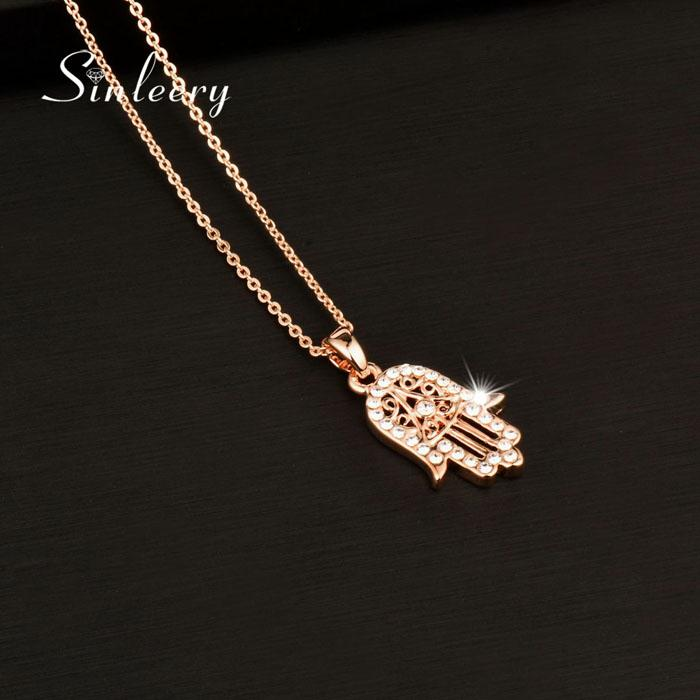 Nice Classic Hand of Fatima Hamsa Necklace Pendants Rose Gold Color Chain Palm Statement Jewelry for Women XL681 SSB