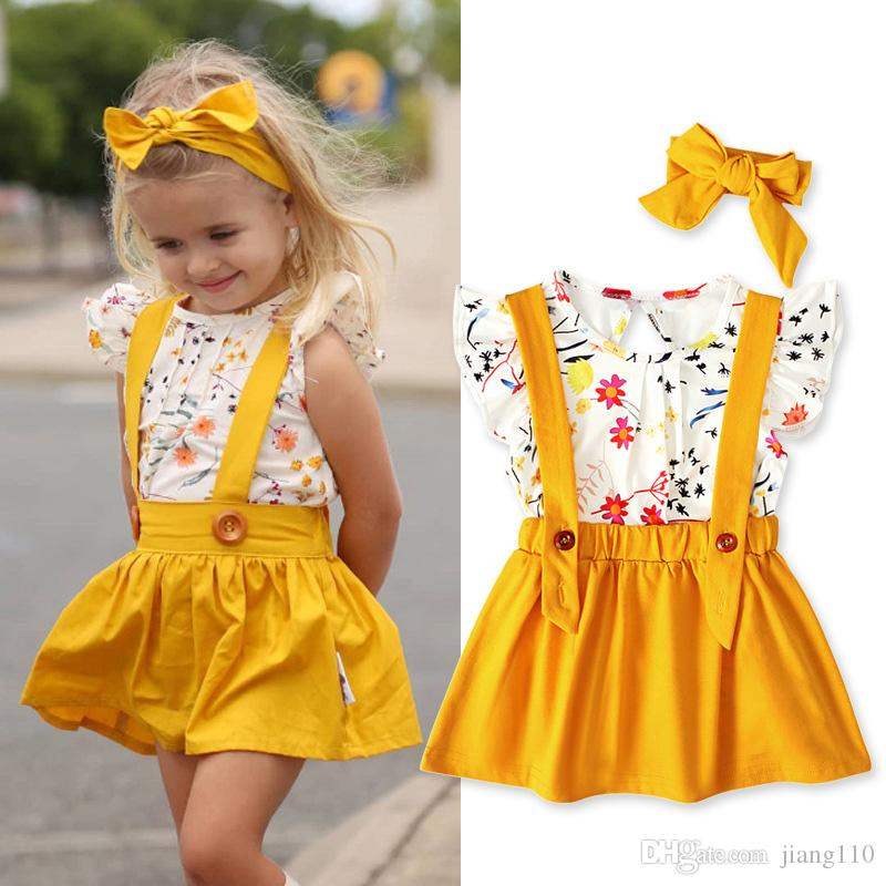 3pcs/lot New Arrival Cute Baby Girl Clothes Set 2019 Summer Toddler Kids Tops+Suspender Dess Headband Children Outfit Girls Clothing