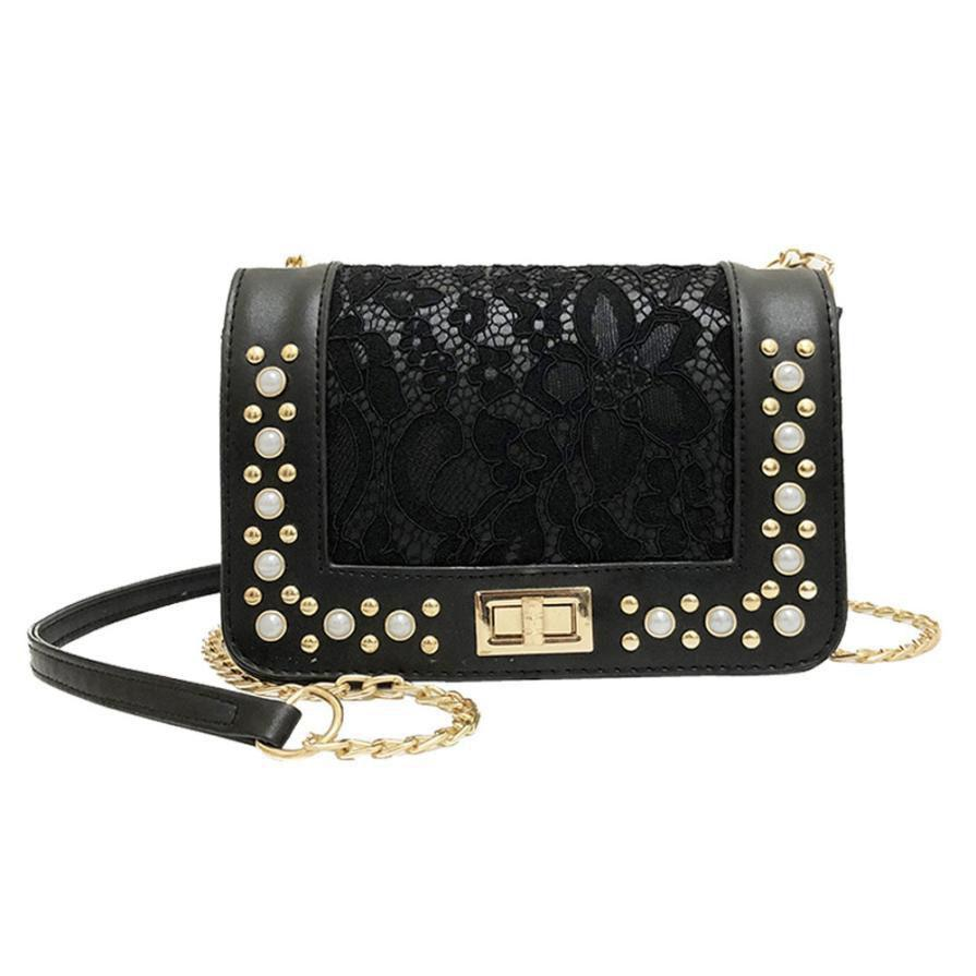 5adc0b8561 Women Fashion Handbags Pearl Leather Crossbody Bag Female Lace Designer  Coin Phone Packet Ladies Casual Hasp Shoulder Bag Messenger Bags Crossbody  Bags From ...