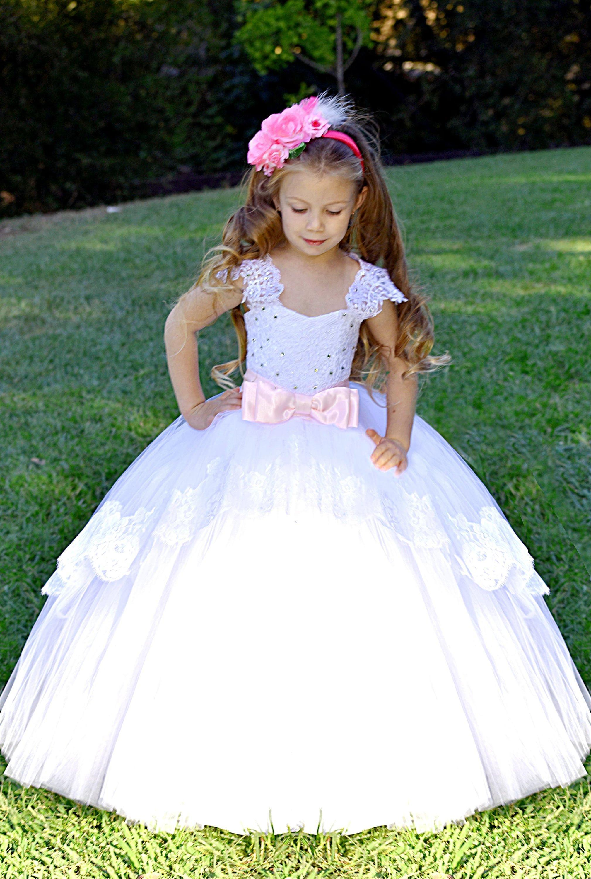 5e096467ac White Flower Girl Dress Wedding Lace Kids Bridesmaid Little Girl Party Dress  Holiday Formal Tulle Dress Pink Wedding Baby Toddler Second Hand Flower Girl  ...