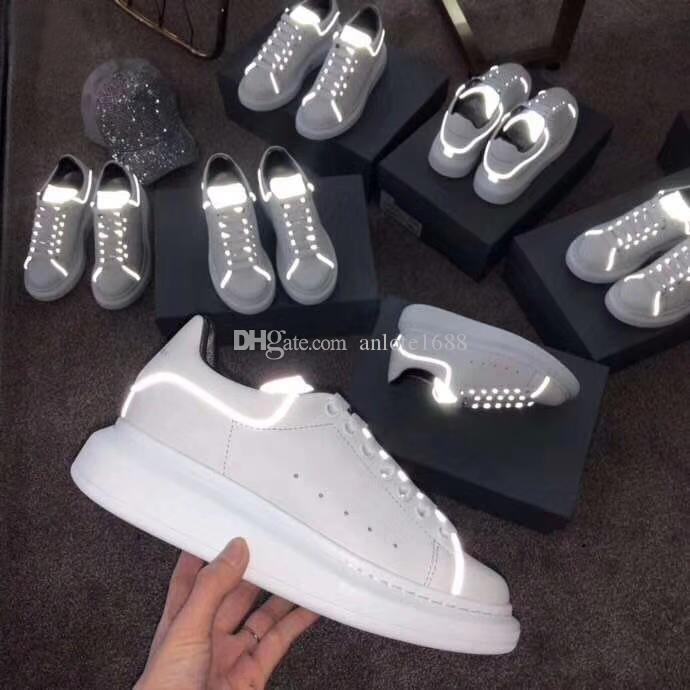 Designer Shiny Tail Femmes Hommes En Cuir Chaussures Plates Mode De Luxe Unisexe Ace Sneakers Creepers Appartements Casual Chaussures Espadrilles