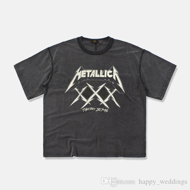 19ss METALLICA Fear of God T-Shirt 3D Summer Mens Short Sleeve Tee Tops Harajuku Embroidery Rock and Roll Band Metallica Tshirt