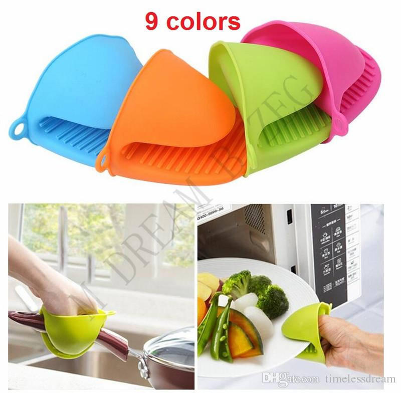9 Colors Oven Mitts Silicone Heat Resistant Gloves Clips Baking Oven Mitts Anti-slip Pot Clip Cooking Kitchen Gloves Kitchen Tools