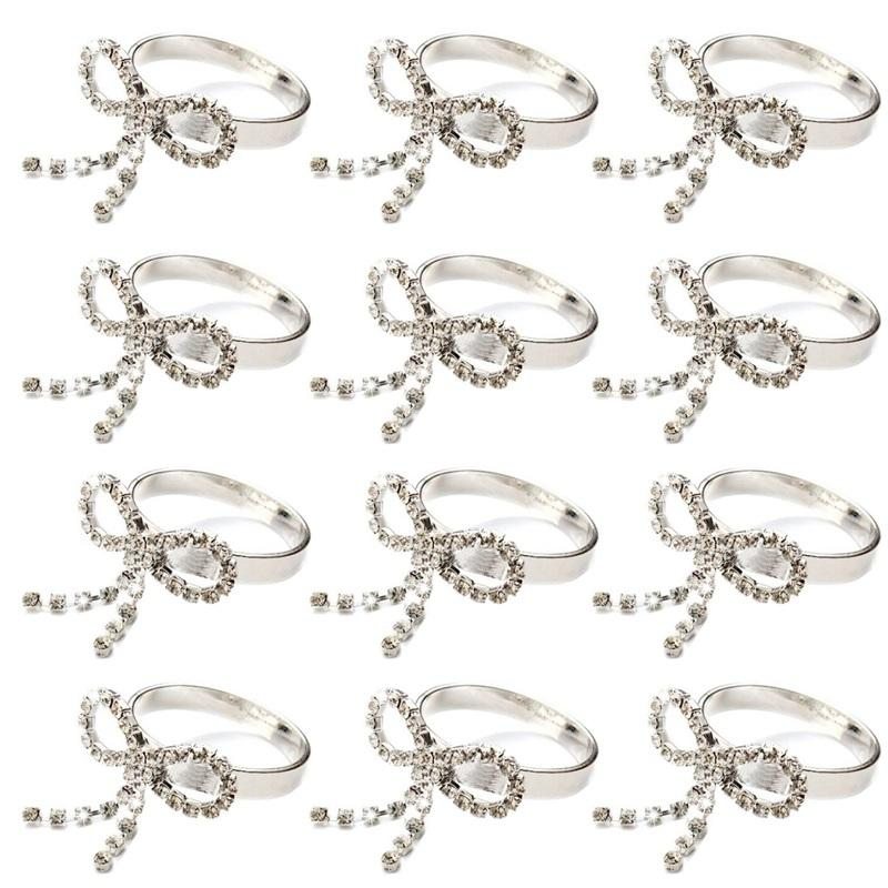 12pcs Round Ring Bowknot Napkin Holder Rhinestone Table Decoration