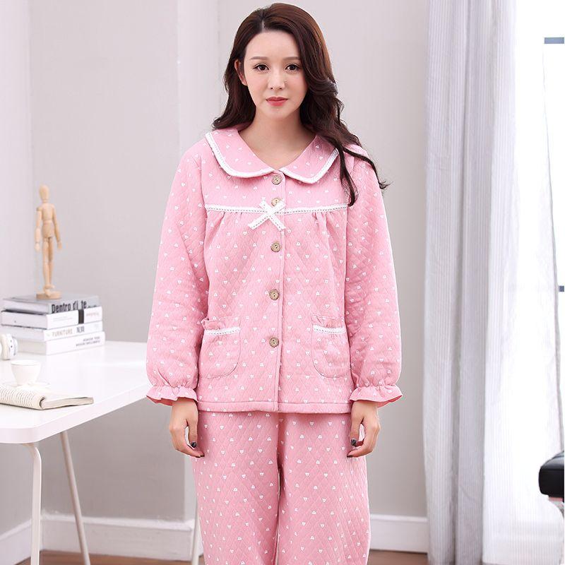 bcd00e75f0 Compre JQ Pijamas De Invierno Mujer Rosa Más Pijamas Ropa De Dormir Ropa De  Casa Ropa De Mujer De Algodón Pijama Feminino Lencería Pijama Femme A   36.63 Del ...