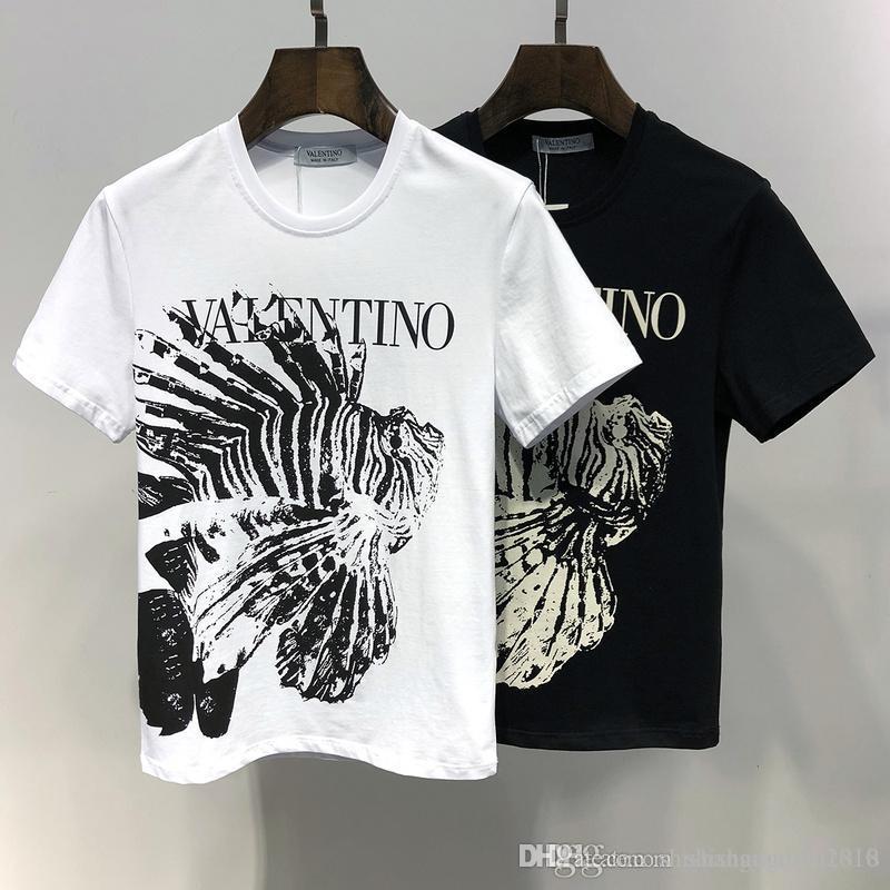 55af7381c89dd8 Acquista Maglietta Di Alta Qualità T Shirt Da Uomo Primavera Ed Estate T  Shirt Da Uomo In Cotone Lettere Di Moda Da Uomo Stampa Di Pesce Sciolto  Maniche ...
