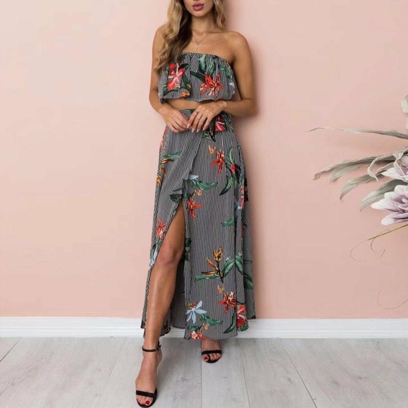 good quality Womens dress Summer Cold Shoulder Sleeveless Stripe Print Slip Beach Long Set Off shoulder beach summer dresses