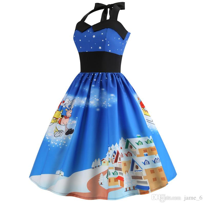 Vintage Dress 2019 Casual Christmas Tree Snowman Women Robe 50S 60S Rockabilly Swing Pinup Vestido Patchwork Elegant Party Dress