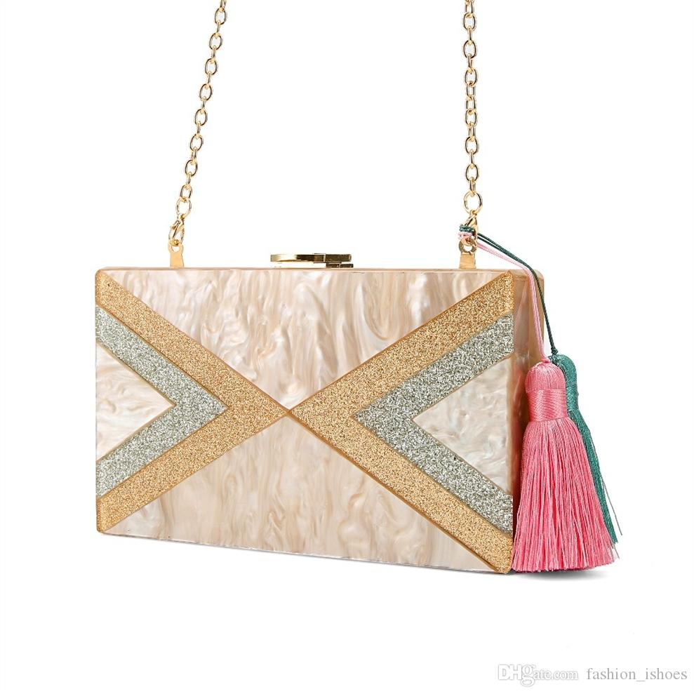 37e6e8cfdf Nude Silver Gold Glitter Striped Geometric Tassel Acrylic Evening Bag  Travel Messenger Shoulder Acrylic Clutch Box Purse Bags #88691 Womens  Handbags Red ...