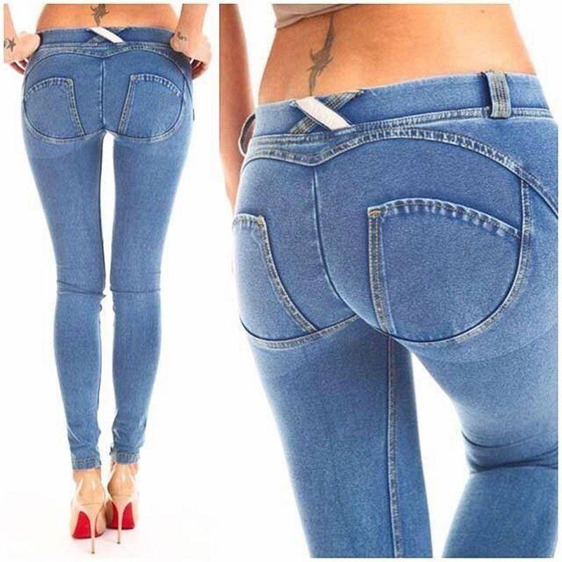e5c1b3a31b4 2019 Women Skinny Lift Butt Jeans Denim Pants Sexy Push Up Hip Jeans Low Elastic  Waist Autumn Pencil Pants Female Leggings C19030901 From Shen8408