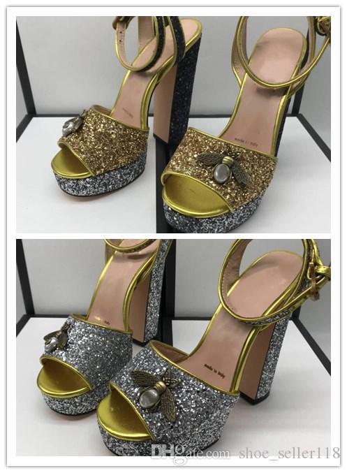 83608eddbeee9 Spring Summer 2019 Crystal Bee Platform High Heels Gold Silver ...