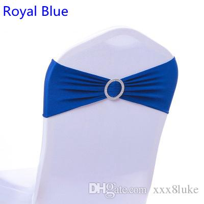 Royal blue colour on sale chair sash with Round buckles for chair covers spandex band lycra sash bow tie wedding decoration