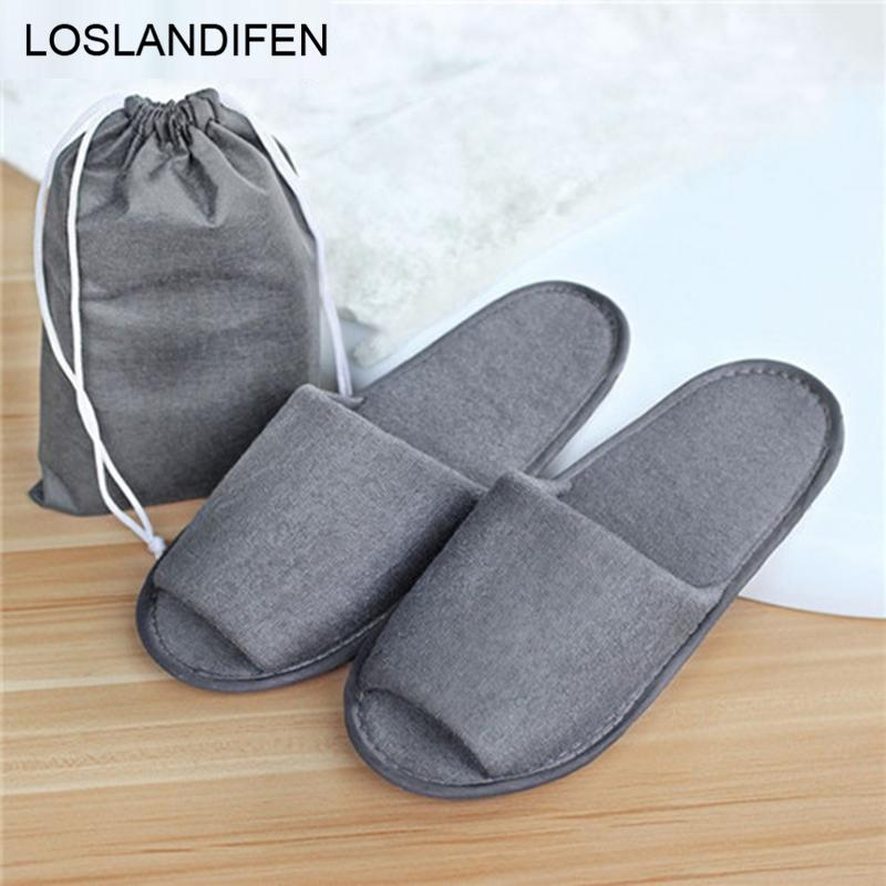 New Simple Slippers Men Women Hotel Travel Spa Portable Folding House Disposable Home Guest Indoor Slippers Big Size Shoes O2149