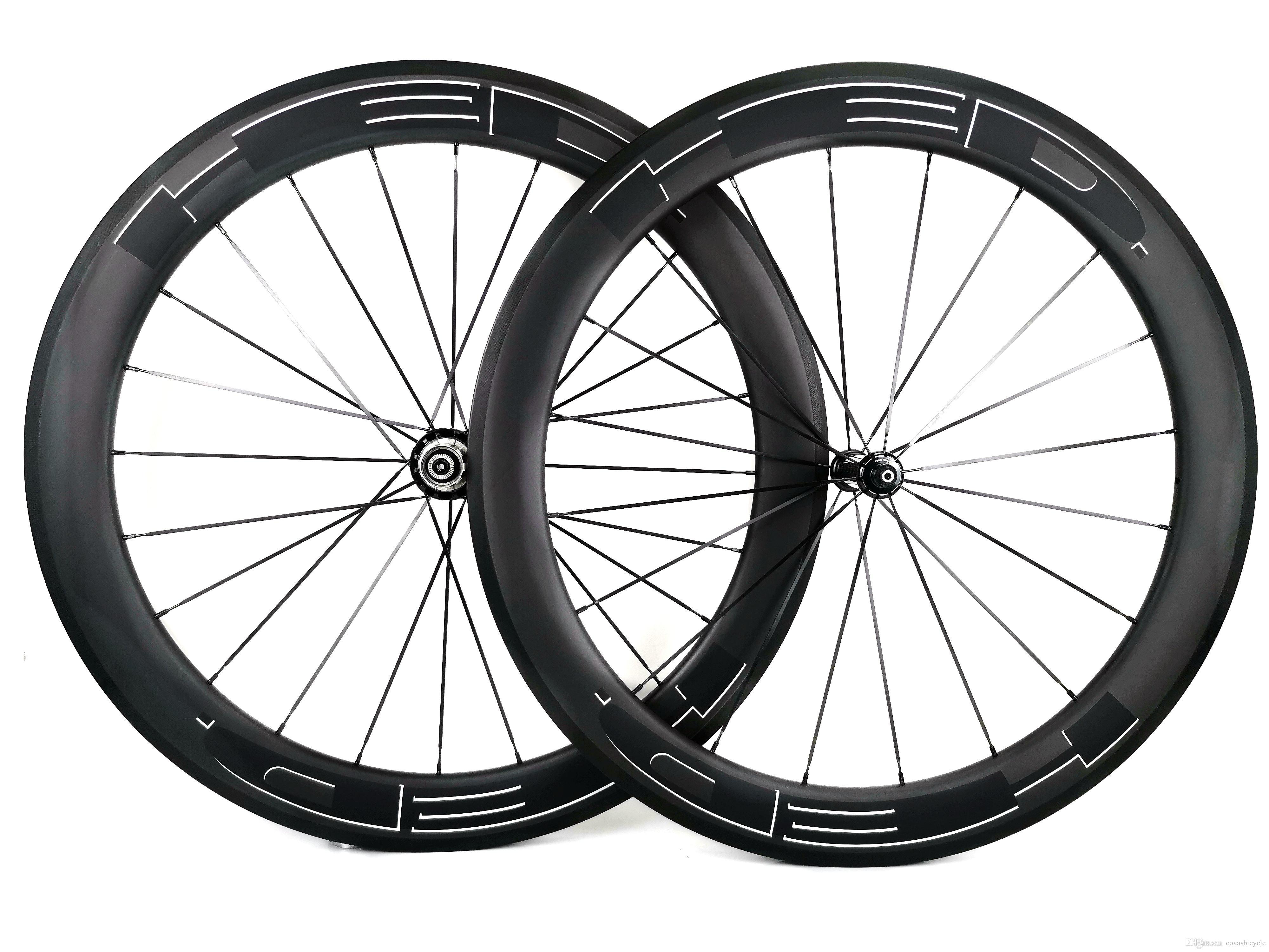 700c 60mm depth road carbon wheels 25mm width road bike clincher tubular carbon wheelset u shape rim ud matte finish white hed black decals carbon fiber